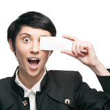 Businesswoman holding business card Stock Photography