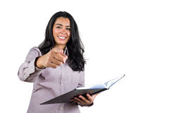 Businesswoman holding a business ledger Stock Images