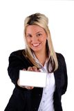 Businesswoman Holding A Card Stock Images