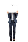 Businesswoman holding card over face Royalty Free Stock Photo