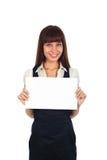 Businesswoman holding a cardboard Stock Photos