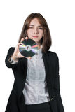 Businesswoman holding the cd disk in her hand Stock Photo