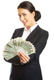 Businesswoman holding a clip of polish money Stock Image