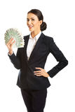 Businesswoman holding a clip of polish money Stock Images