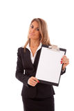 Businesswoman holding a clipboard Stock Photo