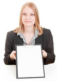 Businesswoman holding clipboard royalty free stock photo