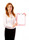Businesswoman holding clipboard Royalty Free Stock Image