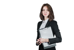 Businesswoman holding the clipboard in her hand. Portrait of businesswoman holding the clipboard in her hand isolated on white Royalty Free Stock Photos