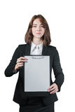 Businesswoman holding the clipboard in her hand. Portrait of businesswoman holding the clipboard in her hand isolated on white Stock Photos