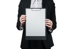 Businesswoman holding the clipboard in her hand Royalty Free Stock Images