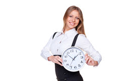Businesswoman holding the clock Stock Photography