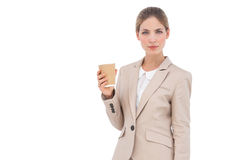 Businesswoman holding a coffee cup Royalty Free Stock Photo