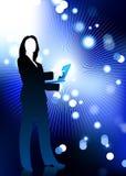 Businesswoman holding computer internet background. Original Vector Illustration: businesswoman holding computer laptop with fiber optic internet background Stock Photography