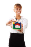 Businesswoman holding concept house Stock Photos
