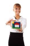 Businesswoman holding concept house Stock Photos