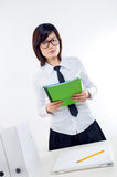 Businesswoman holding contract Stock Photo