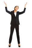 Businesswoman holding copyspace Royalty Free Stock Images
