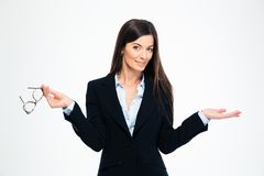 Businesswoman holding copyspace on the palm Royalty Free Stock Images