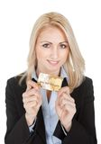 Businesswoman holding credit card Royalty Free Stock Image