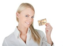 Businesswoman holding credit card Stock Images