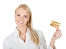 Businesswoman holding credit card Stock Image