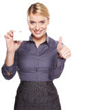 Businesswoman holding credit card Royalty Free Stock Images