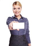 Businesswoman holding credit card Royalty Free Stock Photos