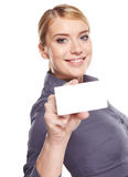 Businesswoman holding credit card. Stock Photos
