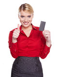 Businesswoman Holding Credit Card. Royalty Free Stock Images