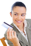 Businesswoman holding credit card Royalty Free Stock Photo