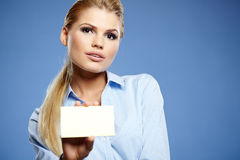 Businesswoman holding credit card. Stock Photo