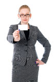 Businesswoman holding credit card. Royalty Free Stock Image
