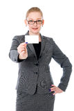 Businesswoman holding credit card. Royalty Free Stock Photography