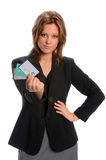 Businesswoman Holding Credit Cards Stock Image