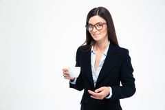 Businesswoman holding cup with coffee Royalty Free Stock Image