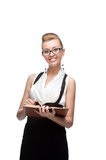 Businesswoman holding diary Stock Images