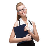 Businesswoman holding diary Stock Image