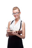 Businesswoman holding diary Royalty Free Stock Photos