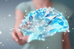 Businesswoman holding digital x-ray human brain in her hand 3D r. Businesswoman holding digital human brain with cell and neurons activity 3D rendering Stock Photography