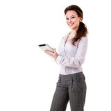 Businesswoman holding a digital tablet isolated over white Stock Images