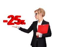 Businesswoman holding discount Stock Photo