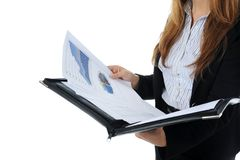 Businesswoman holding documents Stock Images