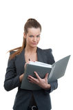 Businesswoman holding documents for signatur Stock Images