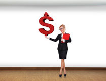 Businesswoman holding dollar Royalty Free Stock Photo
