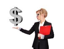 Businesswoman holding dollar Royalty Free Stock Photos