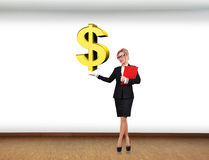 Businesswoman holding dollar Stock Images