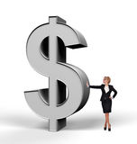 Businesswoman holding dollar Stock Photo