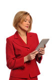 Businesswoman holding an e-book Stock Photos