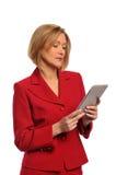 Businesswoman holding an e-book Stock Photos