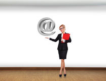 Businesswoman holding e-mail Stock Photos
